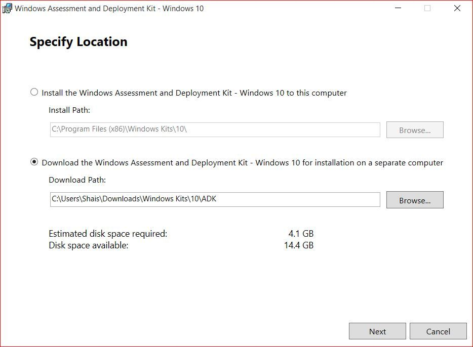 Download Windows Assessment and Deployment Kit for Windows 10