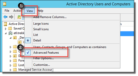 Enable Advanced Features in Active Directory Users and Computers