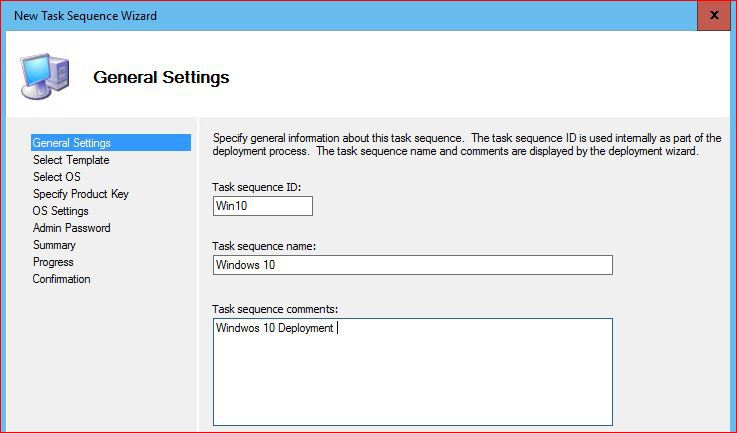 Task Sequence General Settings