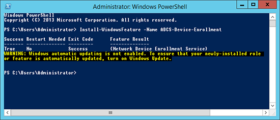 Add NDES to Server 2012