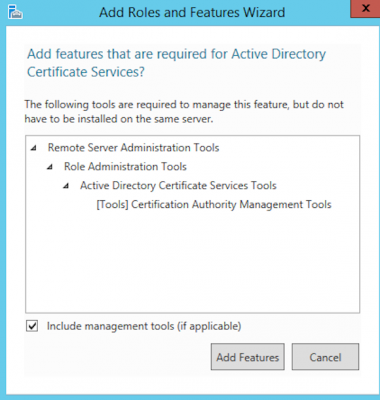 Install Active Directory Certificate Authority add roles