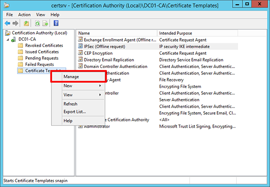 Certificate Server CA | Hottfixes