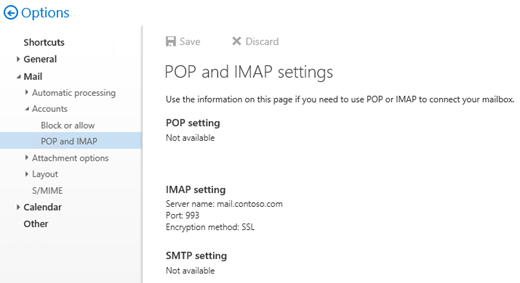 IMAP settings in Outlook on the web