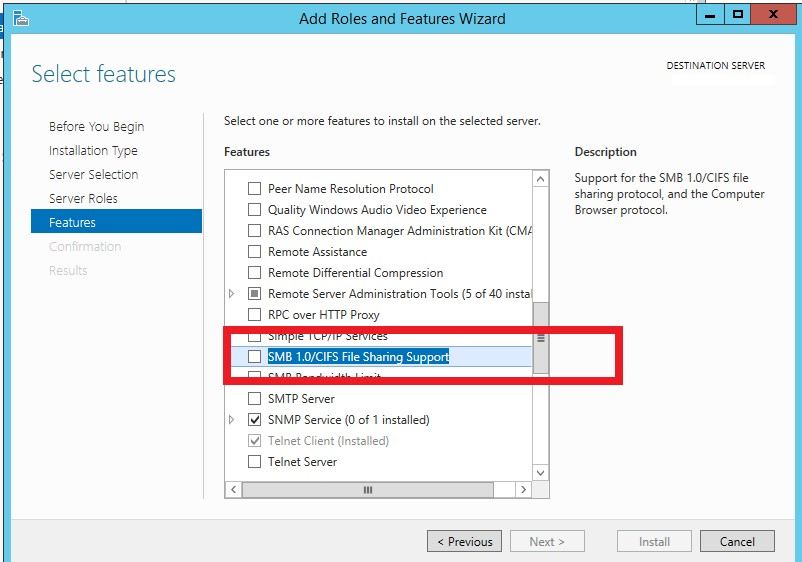 SMB 1.0/CIFS File Sharing Support feature in windows server 2012 r2