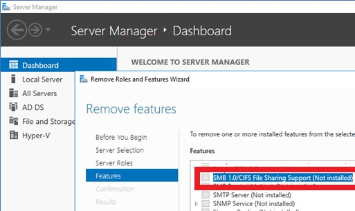 windows 2016: enable SMB 1.0 feauture