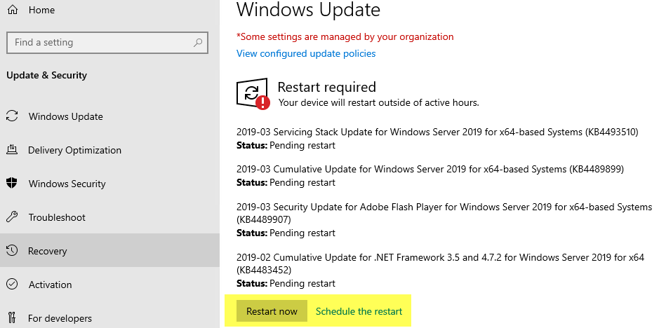 Windows Services update Server (WSUS) | Hottfixes